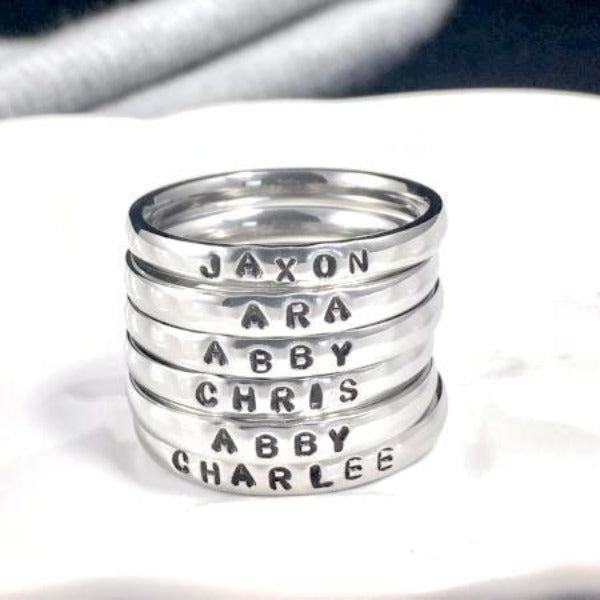 Stackable Name Rings - Colored Rings Mixed Metal
