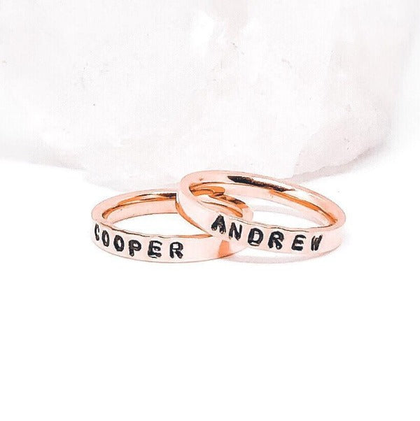 Hand Stamped Trinkets Rings Stackable Rings with Names - Rose Gold