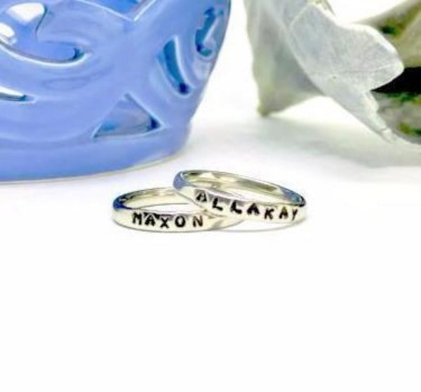 Hand Stamped Trinkets Rings Stacking Rings with Names