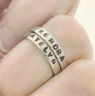 Hand Stamped Trinkets Rings Unique Stackable Mothers Rings - Baby Name Rings for Mom