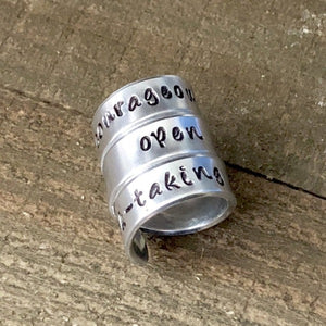 Hand Stamped Trinkets Rings Wide Band Wrap Around Rings - Engraved and Adjustable