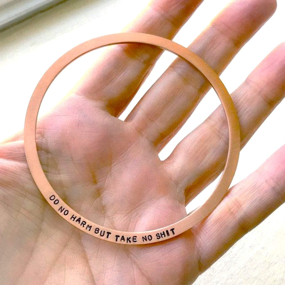 HandStampedTrinkets Bracelet Do No Harm Take No Shit Rose Gold Bracelet - Engraved Quote