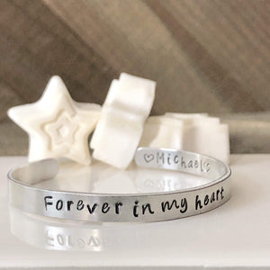 HandStampedTrinkets Bracelet Forever in My Heart Bracelet - Sympathy gift for loss of loved one