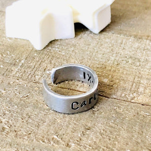 HandStampedTrinkets Jewelry Adjustable Wrap Rings with Initials | Inside Engraving