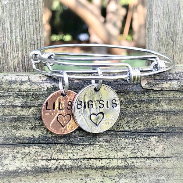 HandStampedTrinkets Jewelry Big Sister Little Sister Personalized Bracelet Set