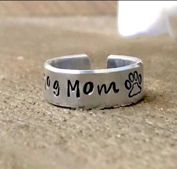 HandStampedTrinkets Jewelry Dog Mom Paw Print Rings for a Pet Owner Gift