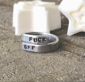 HandStampedTrinkets Jewelry Fuck Off Funny Feminist Custom Engraved Adjustable Wrap Ring
