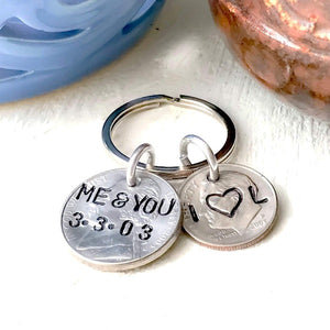 HandStampedTrinkets Keychain Me And You Personalized 15 year wedding anniversary Keychain