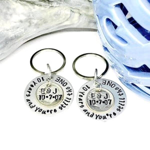 HandStampedTrinkets Keychain Personalized 10 Year Anniversary Gift - You're Still The One Set of 2