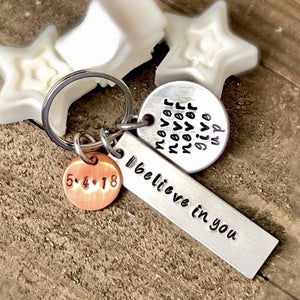 HandStampedTrinkets Keychain Sobriety Gift for Men - We Believe In You Encouragement Keychain