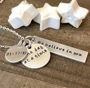 HandStampedTrinkets Necklace One Day At A Time Sober Recovery Anniversary Date Gift