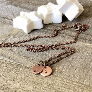 HandStampedTrinkets Necklace Tiny Initial Necklace - Copper