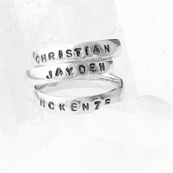 HandStampedTrinkets Rings Custom Engraved Rings with Names - Silver