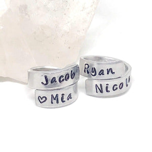 HandStampedTrinkets Rings Custom Engraved Sweetheart Wrap Ring Gift for Girlfriend