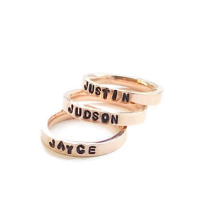 HandStampedTrinkets Rings Custom Stackable Name Rings For Mom - Rose Gold