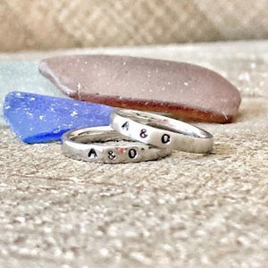 HandStampedTrinkets Rings His and Hers Promise Rings for Couples - Set of 2