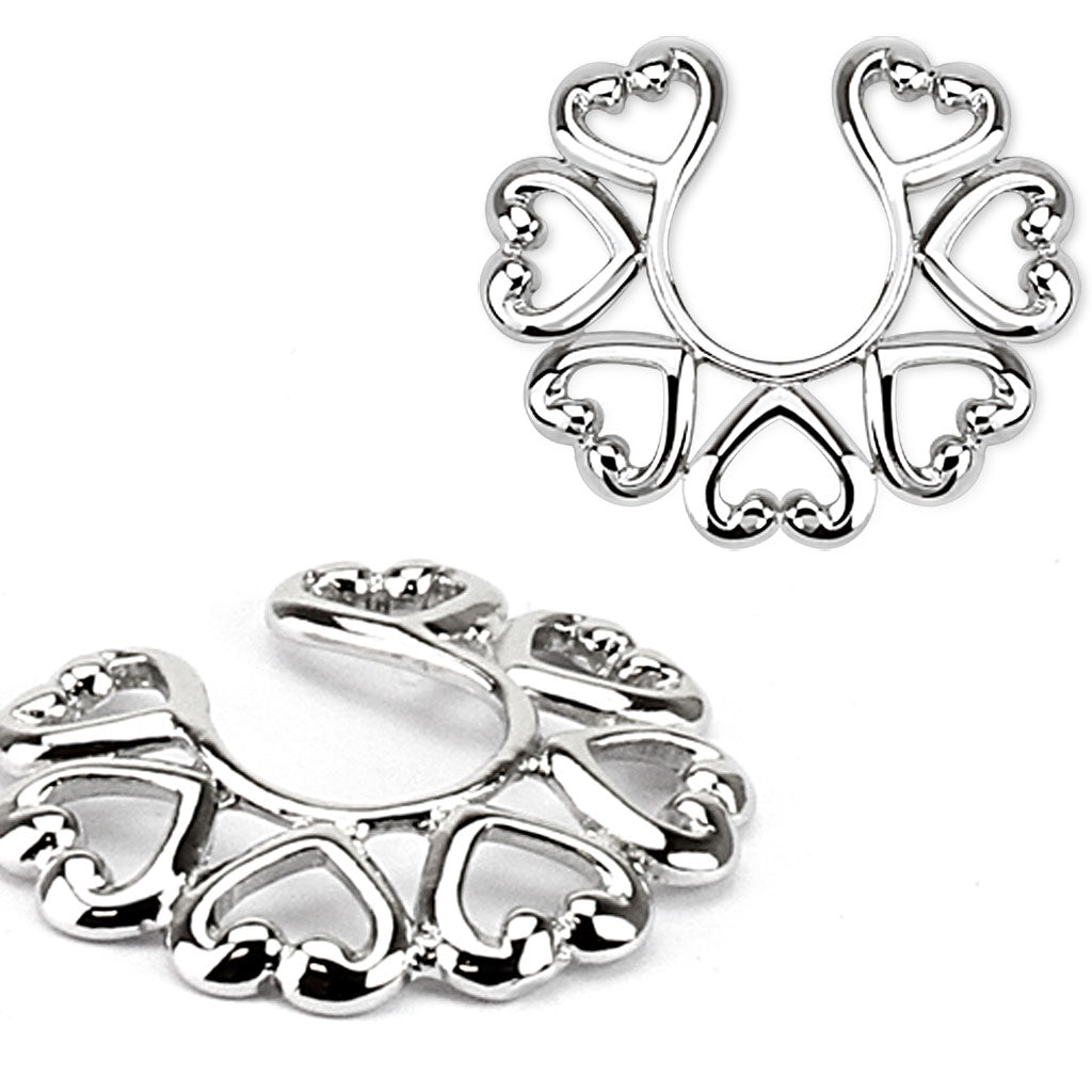 Ring with Hearts Nipple Shields - with or without chain dangle