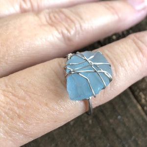 Handmade Ocean Blue Sea Glass Ring