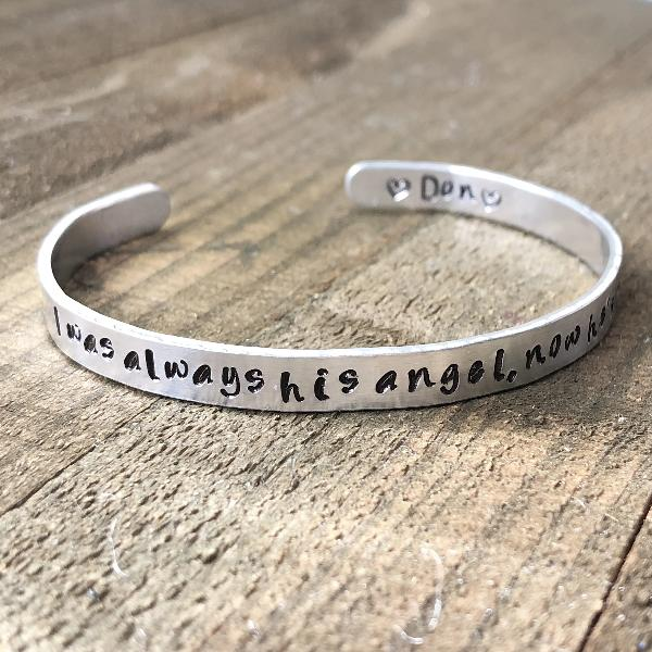 I was his angel now he's mine sympathy bracelet - Hand Stamped Trinkets