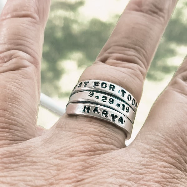 Hand Stamped Trinkets Rings Personalized Spiral Rings - Engraved Adjustable Ring Wraps