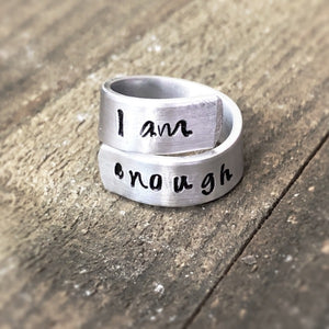 personalized I am enough ring - Hand Stamped Trinkets