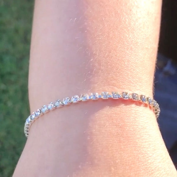Faux silver diamond tennis bracelet - single, double or triple wrap