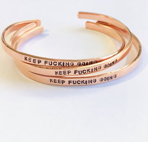 keep fucking going - hand stamped trinkets