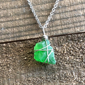 Green Sea Glass Jewellery Necklace