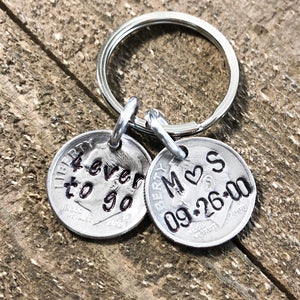 Personalized 20 Years Down Forever to Go Anniversary Keychain