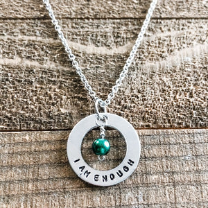 I Am Enough Necklace with Pearl Birthstone Bead