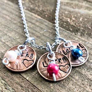 Penny Name Necklace with Birthstones - Choose your penny year for each name