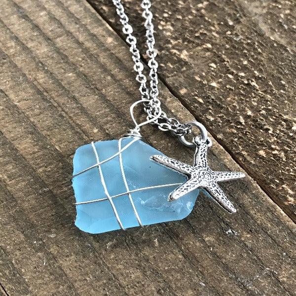 Ocean Blue Sea Glass and Starfish or Mermaid Wire Wrapped Necklace