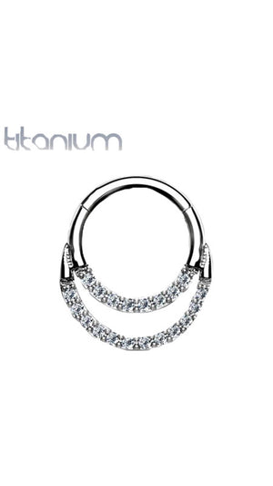 Titanium Double Loop CZ Paved Nose Earring Hoop