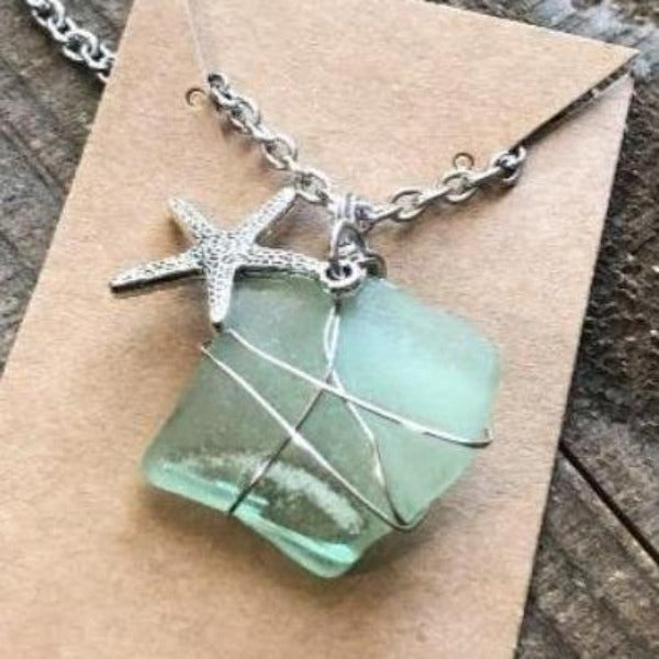 Green Sea Glass and Starfish Wire Wrapped Necklace