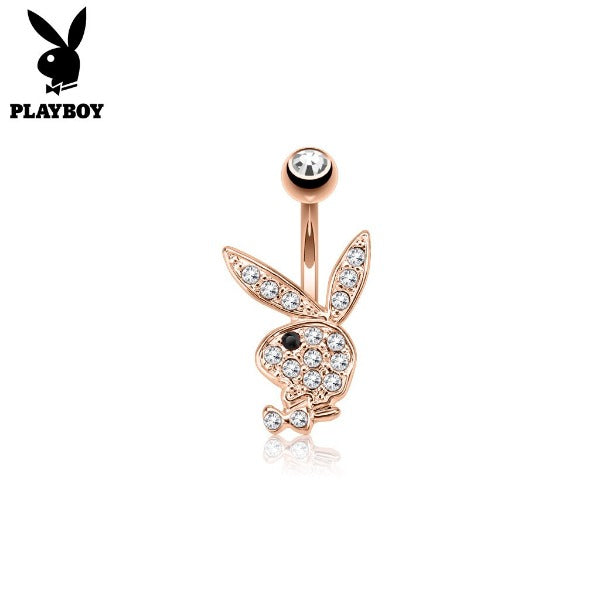 Rose Gold and Silver Playboy Bunny Surgical Steel Belly Piercing