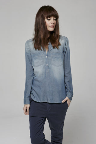 Featherweight Denim- PLACKET PULLOVER