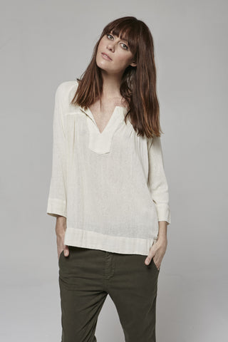 Silk Noil - SAVANNAH PLACKET BLOUSE