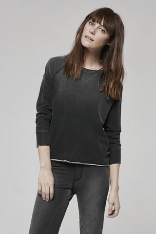 Indigo Black French Terry- Distressed Cropped Sweatshirt