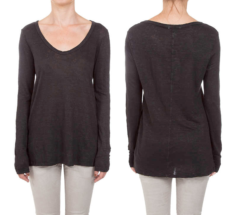 Linen Jersey Long Sleeve Scoop Neck Tee