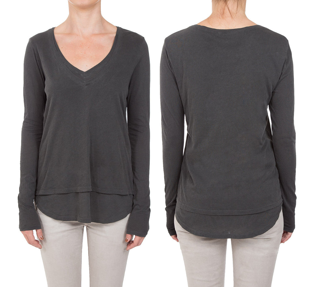 DOUBLE LAYER LONG SLEEVE CYNJIN SCOOP NECK