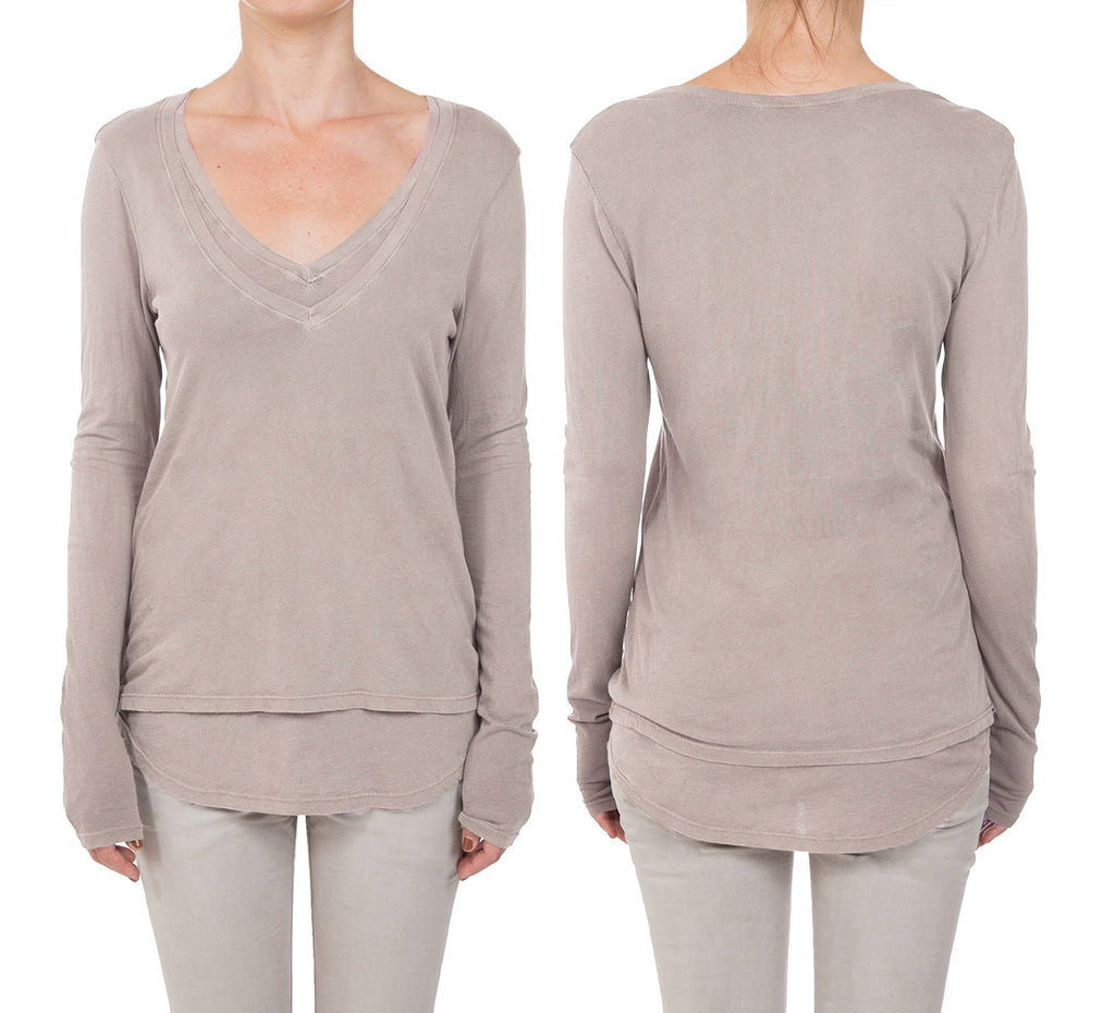 Micro Jersey Double Long Sleeve V-Neck