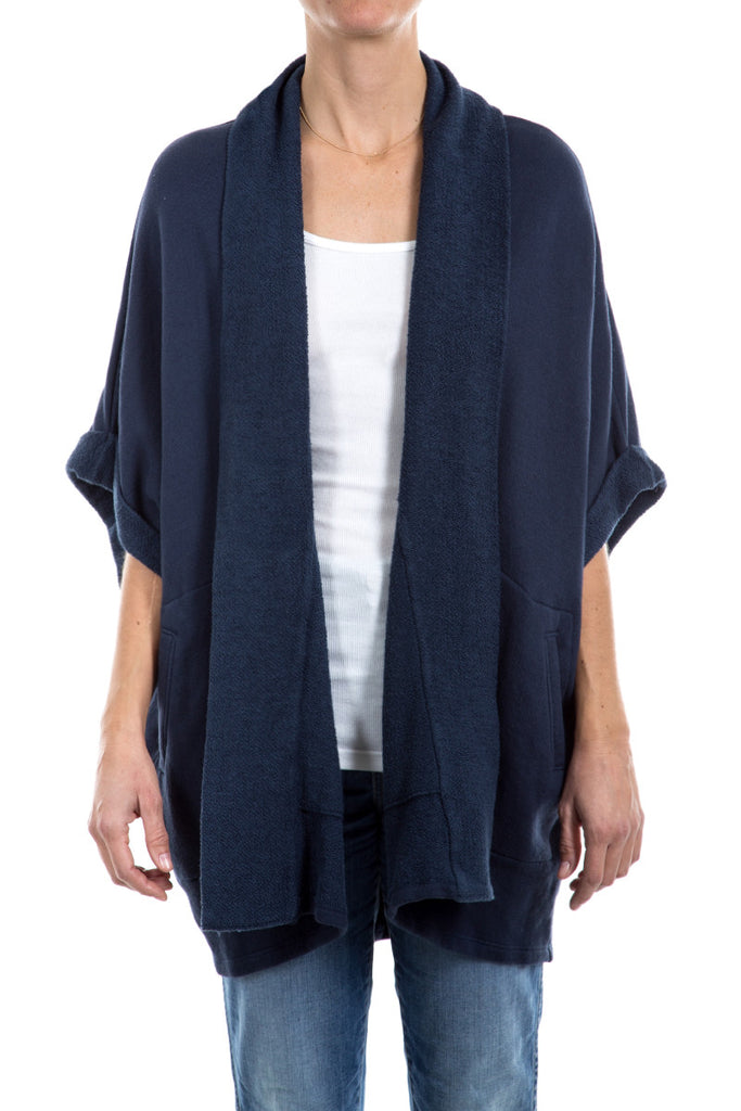 Loop Back Terry - Chunk Rolled Sleeve Cardigan