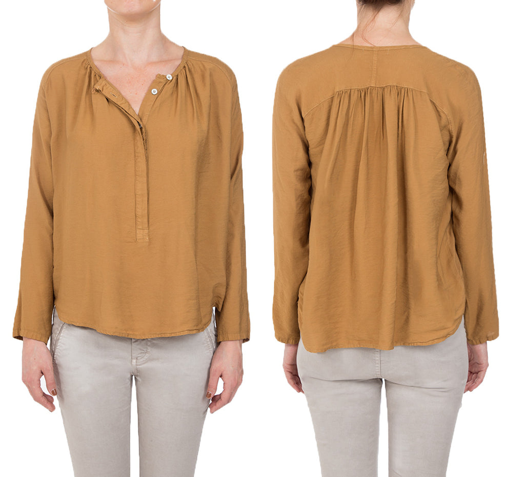 Viscose/Nylon- L/SLV SHIRRED FRONT TOP