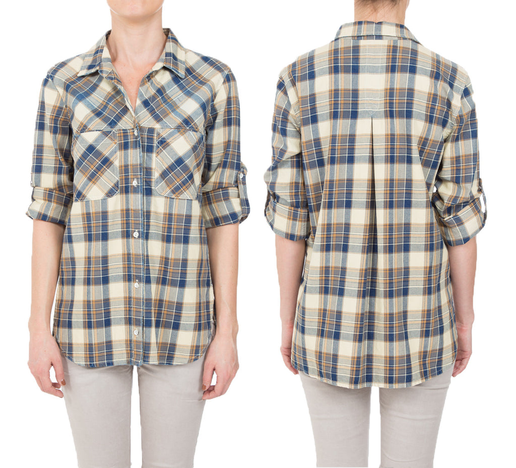 Indigo Plaid- DISTRESSED BUTTONDOWN SHIRT