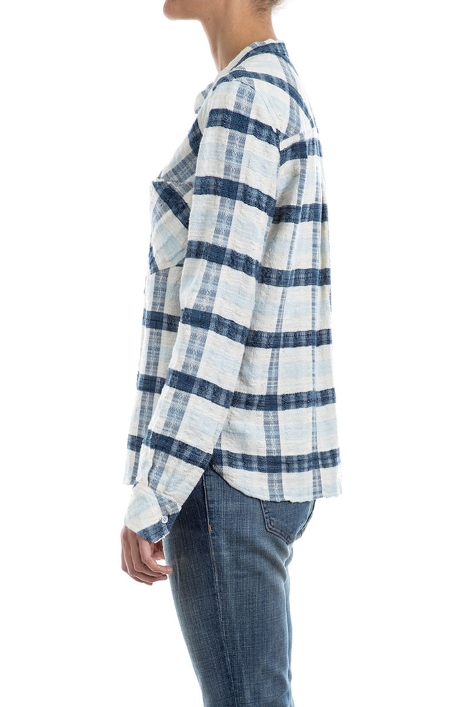 Indigo Plaid- PLACKET PULLOVER
