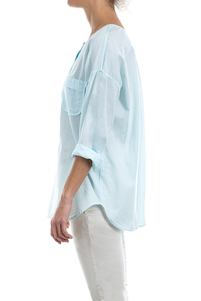 Cotton Voile Boxy Placket Pullover
