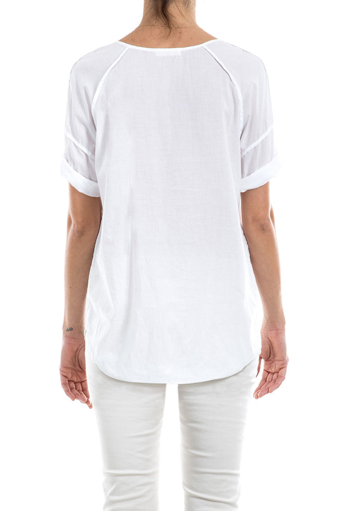Cotton Voile Rolled Sleeve Tee