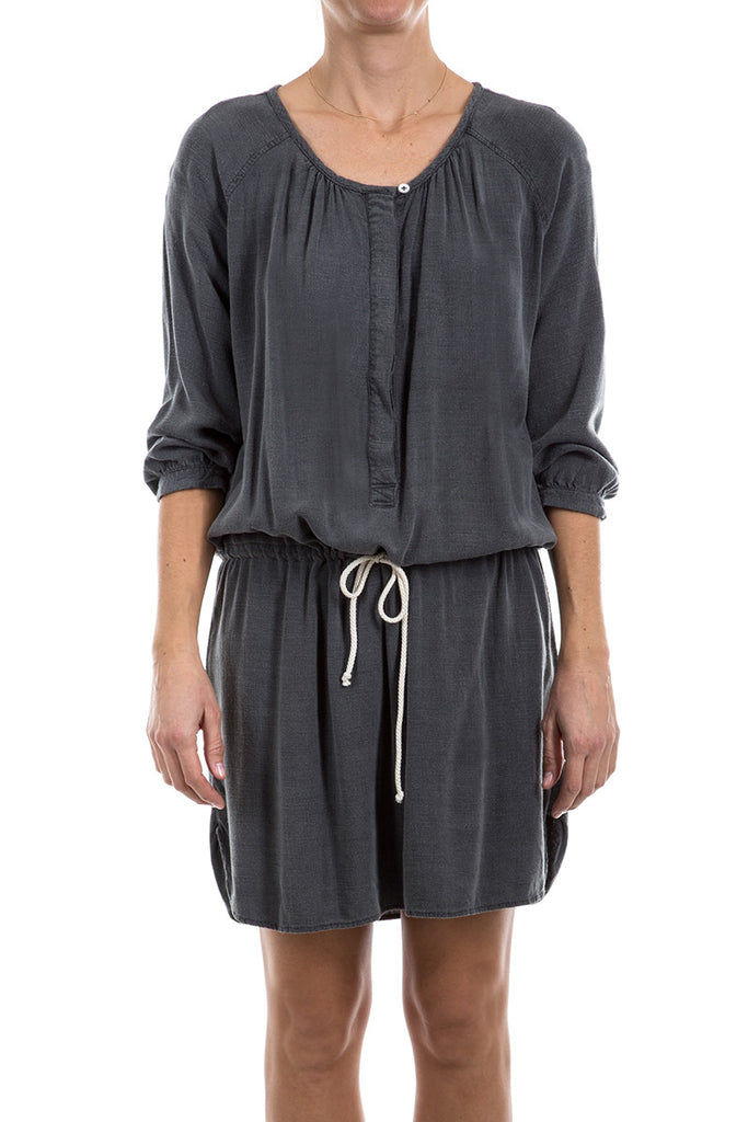 Slub Cross Hatch- RAGLAN PLACKET MINI DRESS