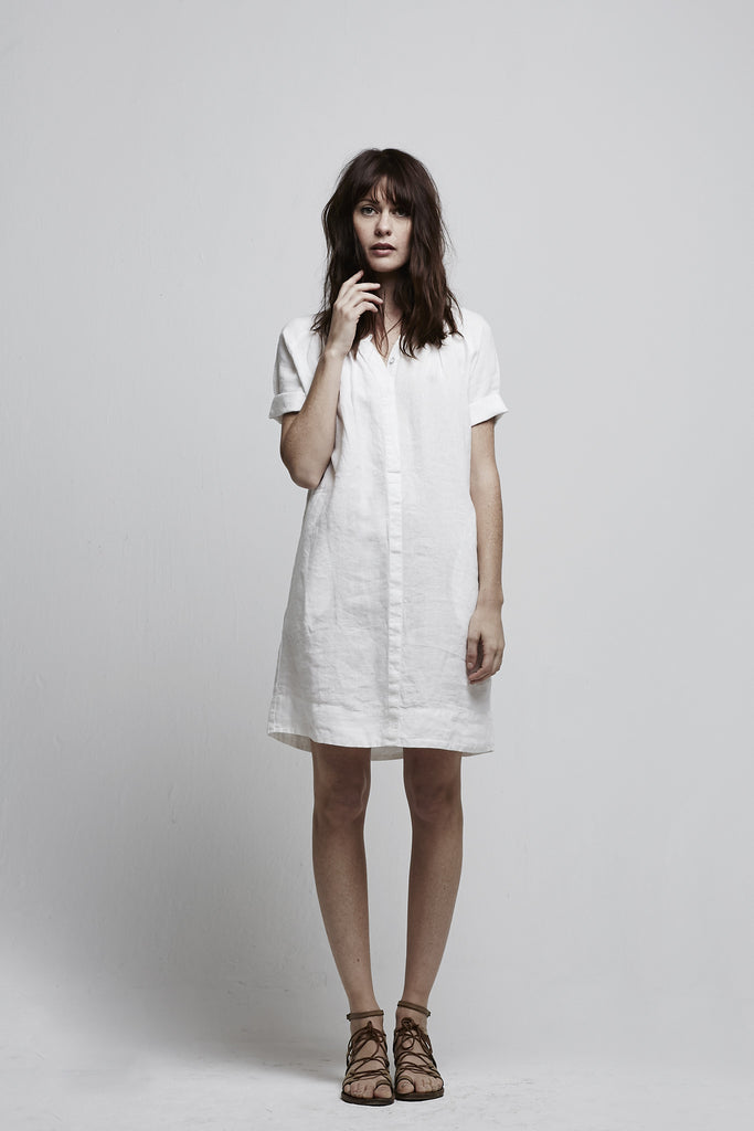 Linen Woven - ROLL SLV POCKET DRESS