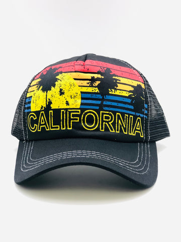 CA Sunset Palms Snap Back Hat